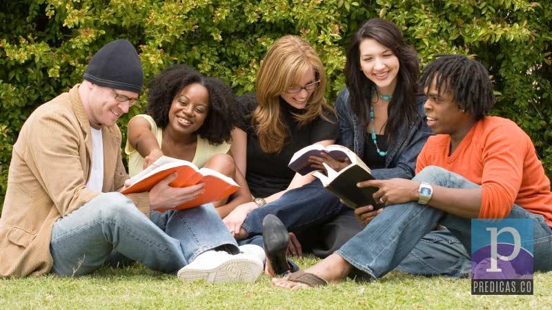 Creyentes leyendo la Biblia al aire libre